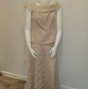 Talbots Two-Pc Champagne Evening Gown Sz 20
